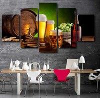 5 Pedazo de la Lona Arte Pintura Decoracion Regalo Botella De Cerveza De Barril Hop Casa Modular de Malta Cartel Foto Sin Marco