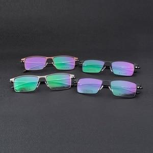 Image 5 - Larghezza 152 cerniera a Molla di affari occhiali uomo Grande volto di metallo casuale cerchio pieno Quadrati imitazione titanium occhiali da vista frames Occhiali