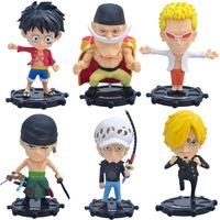 NEW 6pcs Set 9cm One Piece Donquixote Doflamingo Luffy Zoro Sanji Trafalgar Law Action Figure Toy