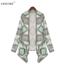 Basic Jackets Outerwear 2016 new fashion irregular long-sleeved cardigan sexy sweater Women print winter spring autumn pink coat