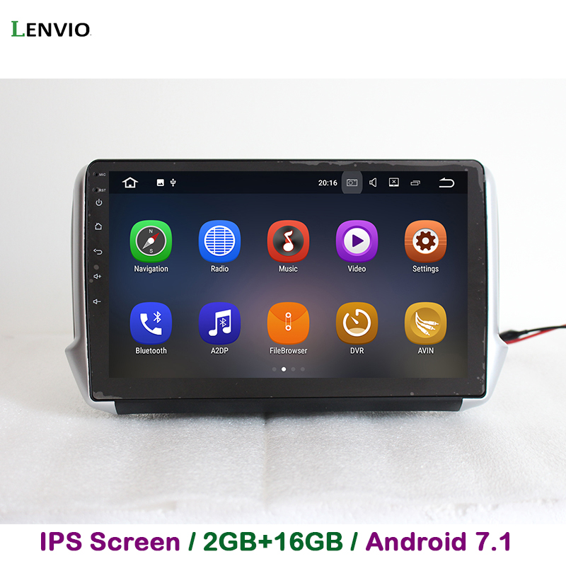 Lenvio 2G RAM <font><b>Android</b></font> 7.1 CAR DVD Player For <font><b>Peugeot</b></font> 2008 <font><b>208</b></font> 2014 2015 2016 Quad Core In dash car radio GPS Navigation DAB IPS image