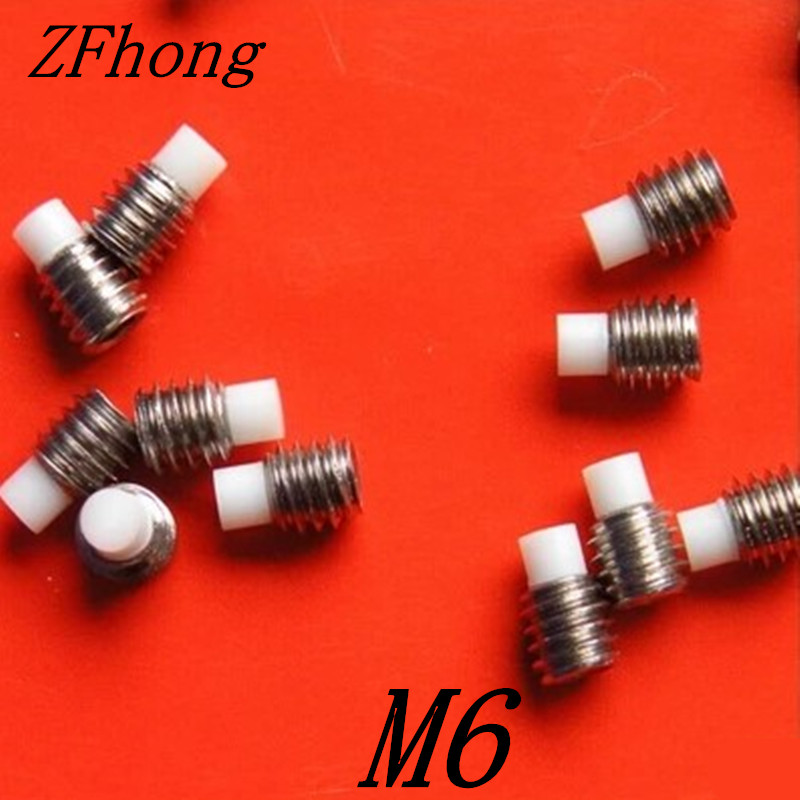 20pcs M6*5/6/8/10/14/22/27/32/35/37/42 stainless steel hex socket nylon tip set screw 20pcs m3 6 m3 x 6mm aluminum anodized hex socket button head screw