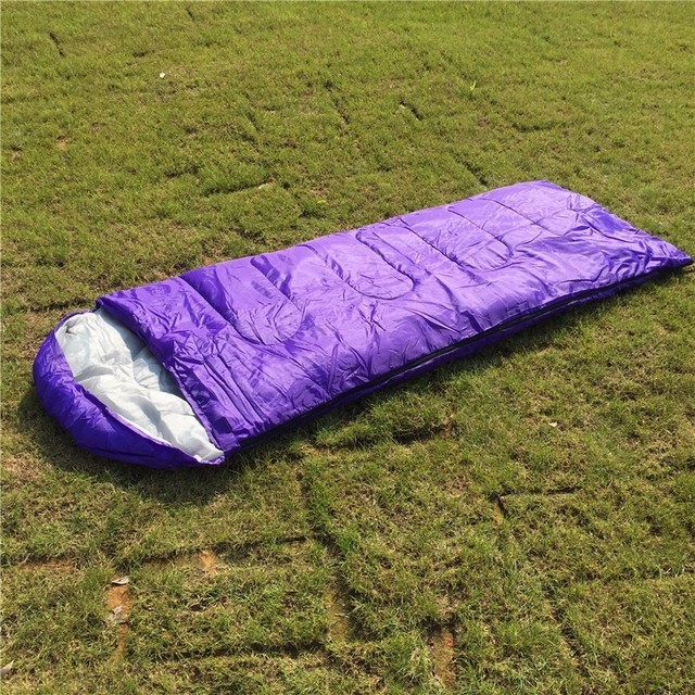 Super Deal Solid Color Envelope Sleeping Bag 700g 950g 1300g Summer Spring Autumn Camping Sleeping Bag with Cap 7 Colors