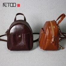 AETOO Кожа моды мини случайный маленький рюкзак масло воск кожи колледж дамы плеча косой крест сумка