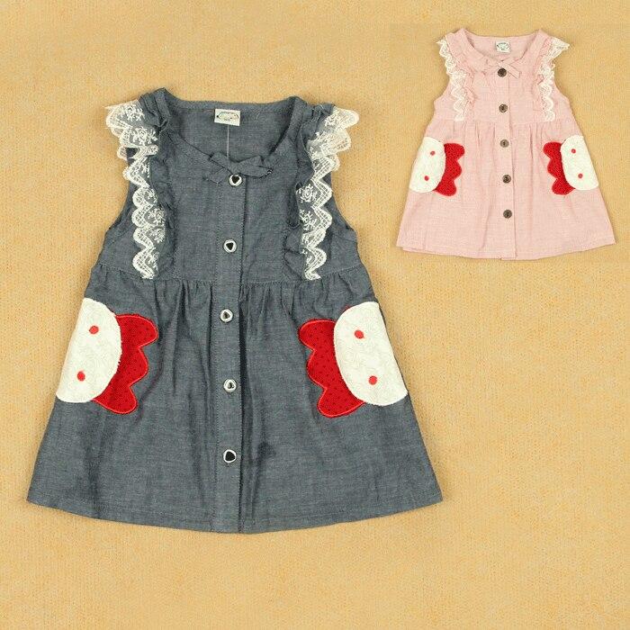 Summer allo lugh female child fluid thin sleeveless plaid button tank dress one-piece dress