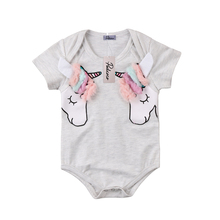 Helen115 Lovely Newborn baby girl clothes Cartoon Short Sleeve Bodysuit One Piece Outfits 0-24M