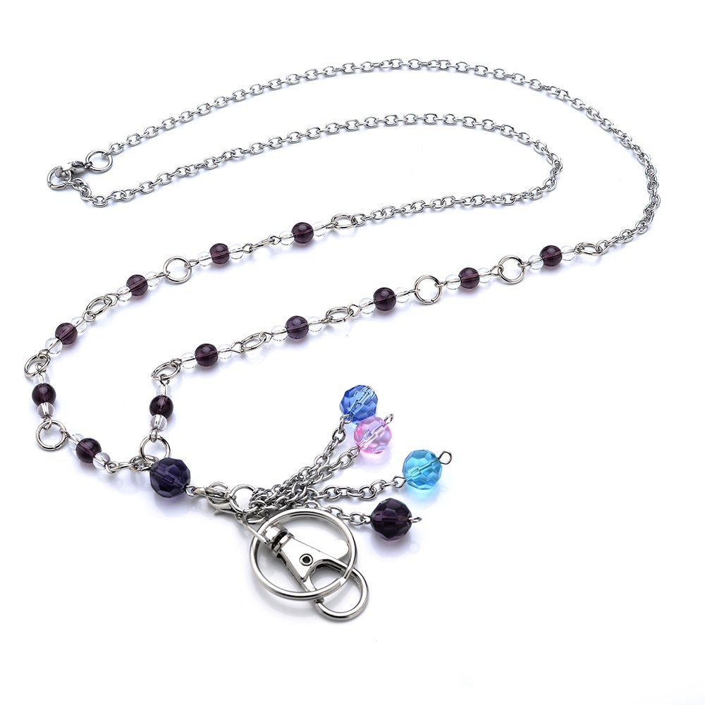 Fashion women's office Lanyard - A Multi-Color Crystal ID Name Badge Holder Necklace with Breakaway Clasp