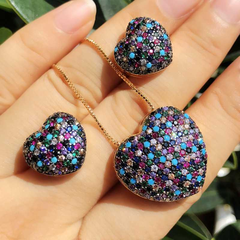 Luxury Multicolor Cubic zirconia Heart Shape Jewelry Sets For Women gold color Necklaces Stud Earrings bridal Wedding Party Sets
