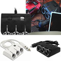 Universal 3 Ways 120W Auto Car Cigarette Lighter Socket Splitter Power Adapter 12V Dual 2 USB Charger For Phone For Tablet PC