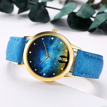 купить GAIETY 2019 Top Fashion Starry Sky Leather Band Analog Womens watches Brand Casual Quartz Round Wrist Watches Bracelet Watches по цене 201.91 рублей