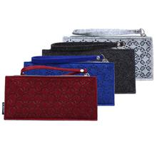 2087 Fashion Women Coins Purse Ladies Wristlet Wallets Multi Color Red Blue Black and Grey White with Wool Fiber Felt Material
