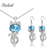 Fashion Girl Lovely Jewelry Sets 18k Gold Plated Kitten Shape Austrian Crystal Necklace Earrings Free Shipping 80144