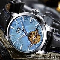BINGER Brand Men Watches Automatic Mechanical Watch Tourbillon Sport Clock Leather Casual Business Retro Wristwatch Relojes 2019