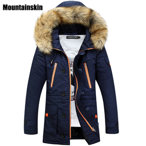 Image 1 - Mountainskin Winter Mens Long Parkas Thick Hooded Fur Collar Coats Men Overcoats Casual Army Jackets Male Brand Clothing SA026