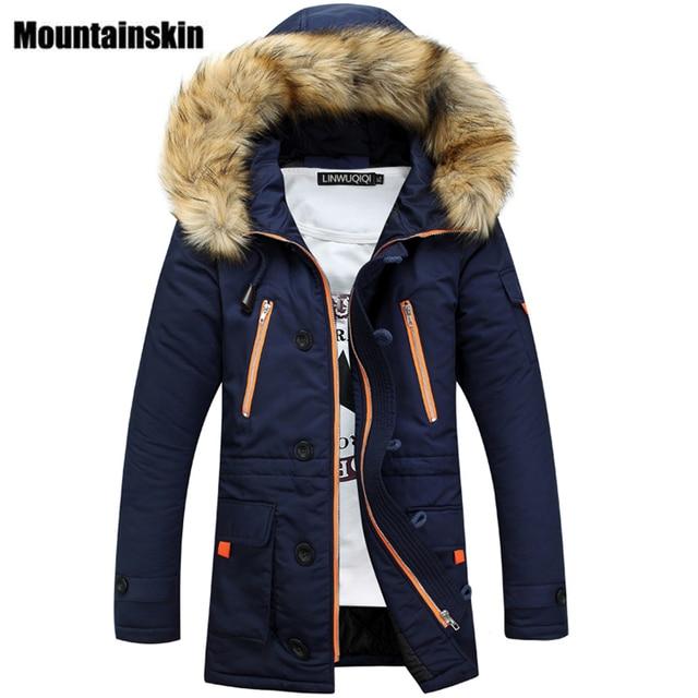 Mountainskin الشتاء الرجال سترات طويلة سميكة مقنعين الفراء طوق معاطف الرجال معاطف سترات الجيش عادية الذكور ماركة الملابس SA026