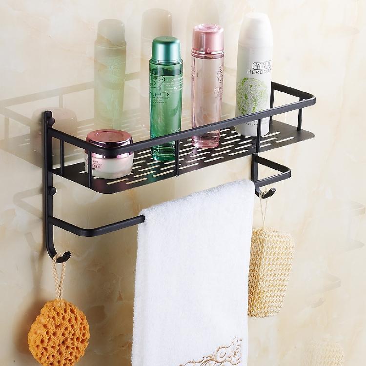 Noir étagère de salle de bain