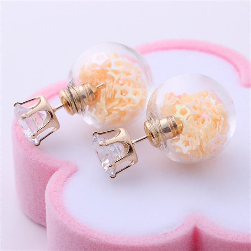 fbf3c1b46 New Fashion Jewelry Golden Crown Crystal Shining Double Sides Big Glass  Pearl Stud Earrings Star Ball Earrings Ear Stud Women