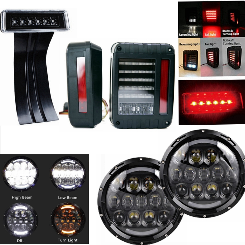 ФОТО 2cs 7 Inch 105w Led headlight +2Pcs G2 LED Rear Tail Light With 1pcs 3rd Third Brake Light Combo For for 07-16 Jeep Wrangler JK