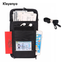 Klsyanyo Waterproof ID Card Holder RFID Blocking Travel Multifunction Neck Pouch Passport Holder Travel Wallet For