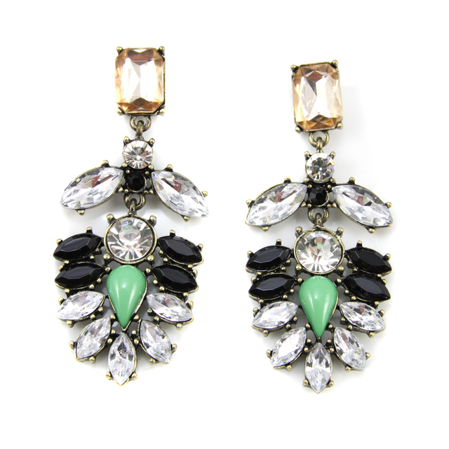 New Vintage Crystal Encrusted Drop Earrings Fashion Green Resin Stone Jewelry For Women  Free Shipping