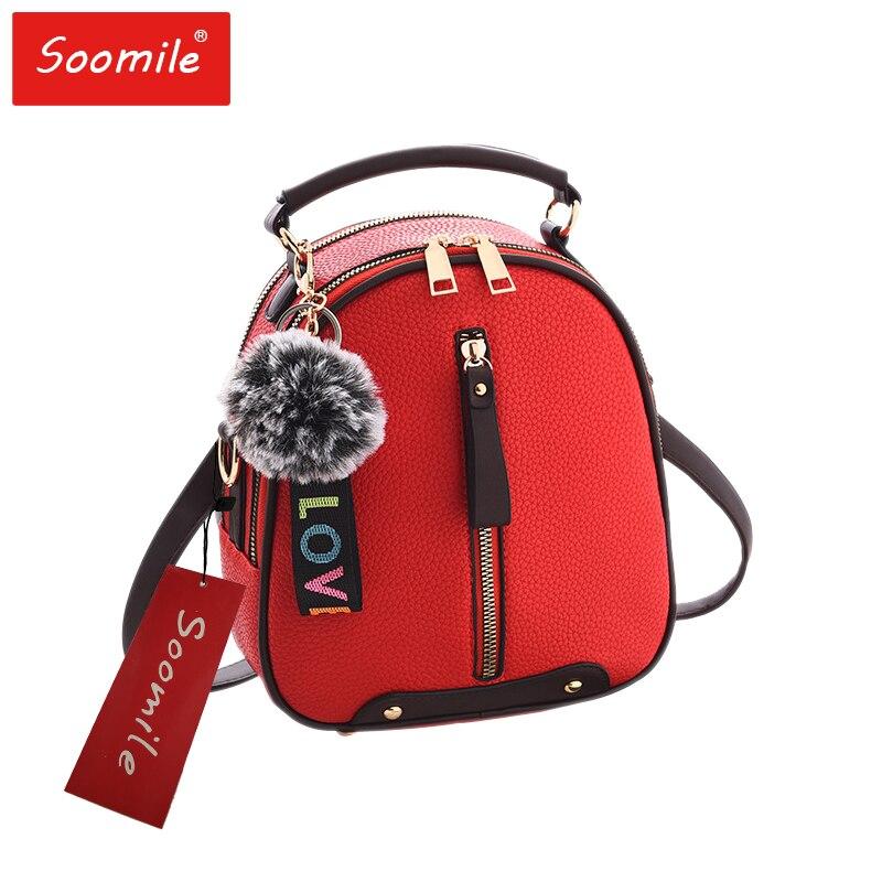 Soomile 3in1 Fashion Multi-Function Pu Leather Girl Mini Backpack Brand Women Red Small Backpacks free shipping real photo 2017 mini pu mini backpack cheap women backpacks black bb108