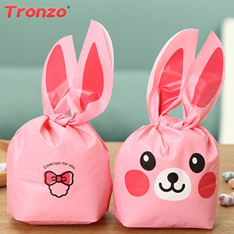Tronzo 50pcs Plastic Rabbit Ear Gift Bag Birthday Party Decorations ...