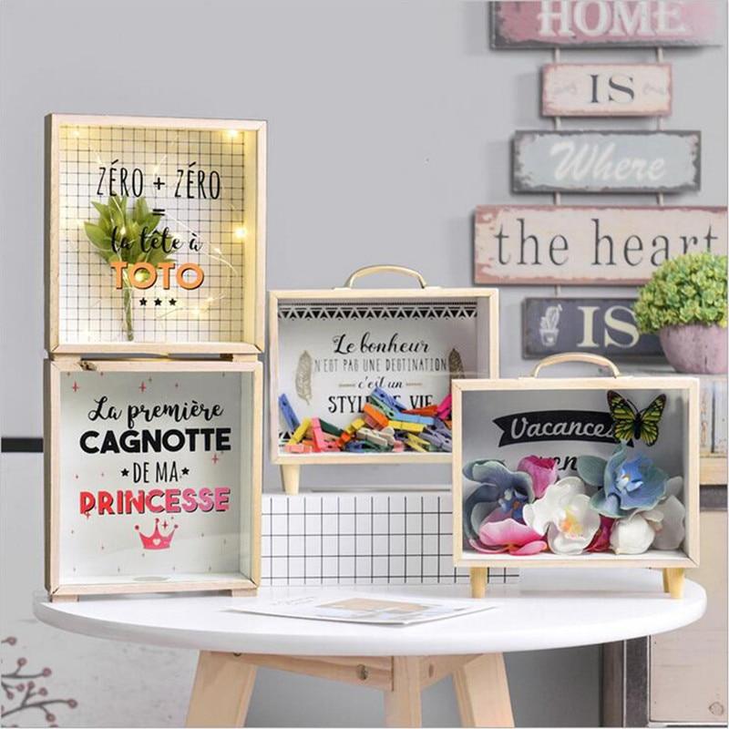 NOCM Nordic Ins Creative Wooden Art Fresh Piggy Bank Bedroom Desktop Decoration Ornaments Sundries Storage Box Props