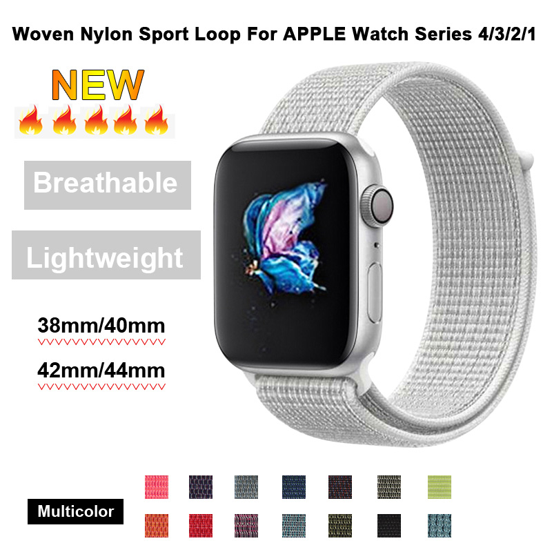 Summit White Sport Loop Band Nylon Strap For Apple Watch 4 40mm 44mm Wristbands Fabric Bracelet 38mm 42mm For Iwatch 1