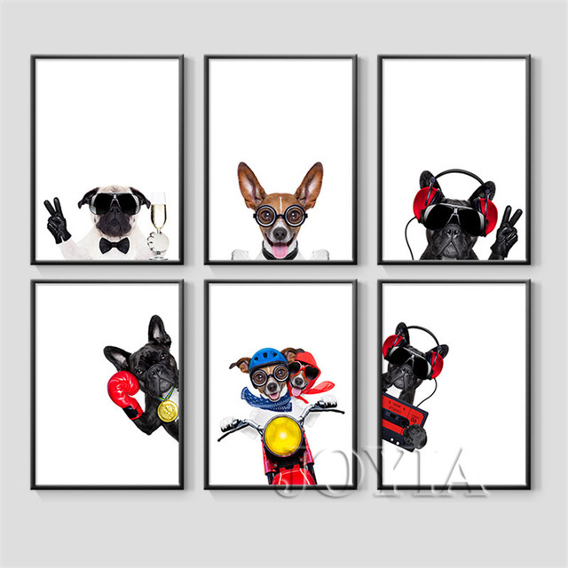 funny dog wall art prints pet puppy hipster animal canvas wall