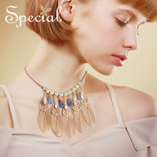 SPECIAL western Fashion trend necklace with tassel temperament female clavicle chain short style Susan bleach S2737N