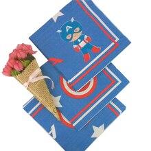 10pcs/lot Captain America Theme Disposable Napkins Wedding Kids Birthday Party Supply Paper Family