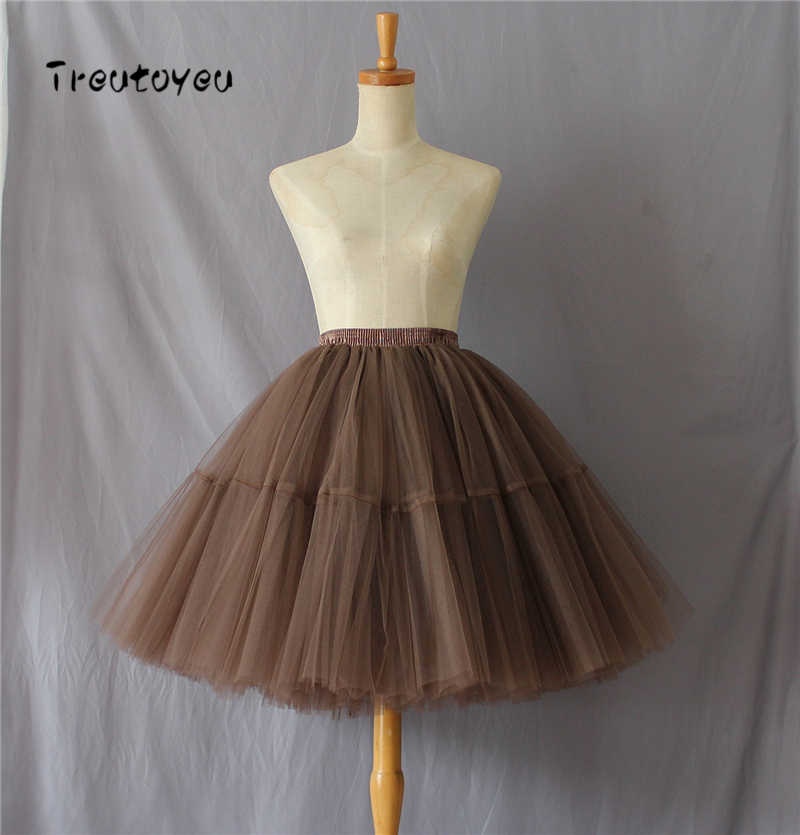 0c7eebf704a81 5 Layers 55cm Tutu Tulle Skirt Vintage Midi Pleated Skirts Womens Lolita  Petticoat Bridesmaid Wedding faldas Mujer saias jupe