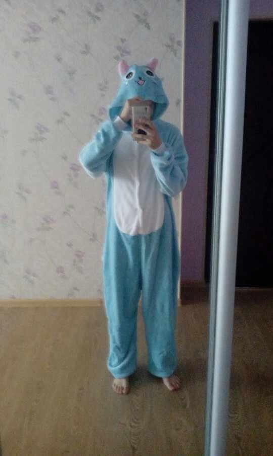... Высокое качество унисекс для взрослых женщин животных Fairy Tail Happy Cat  пижамы Kigurumi мультфильм зима косплэй ... d6365fc148535