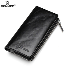 GENMEO New Arrival Genuine Leather Wallets Men Cow Leather Clutch Bag Real Leather Credit Card Holder Male Purse Bolsa mara s dream 2017 new genuine cow leather long wallet men real leather clutch wallets casual men s billfold card checkbook