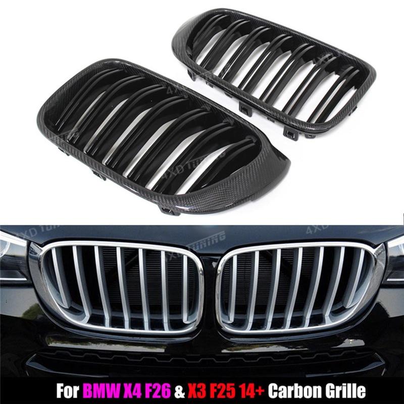 For BMW Grille X Series X3 F25 & X4 F26 Carbon Fiber & ABS Plastic Grille Dual Slat Gloss Black Finish M LOOK 2014 2015 2016- UP x3 f25 x4 f26 front bumper grills for bmw x3 x4 f25 f26 2014 present model kidney grille mesh