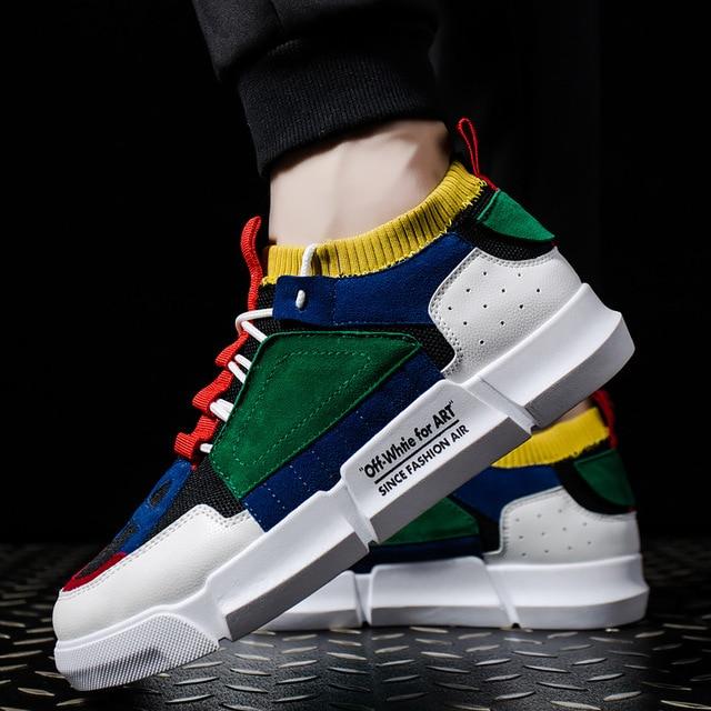 2018 nueva moda Primavera marca zapato de ocio hombres clásicos zapato blanco Patchwork de Juventud Masculina zapatos casuales zapatos