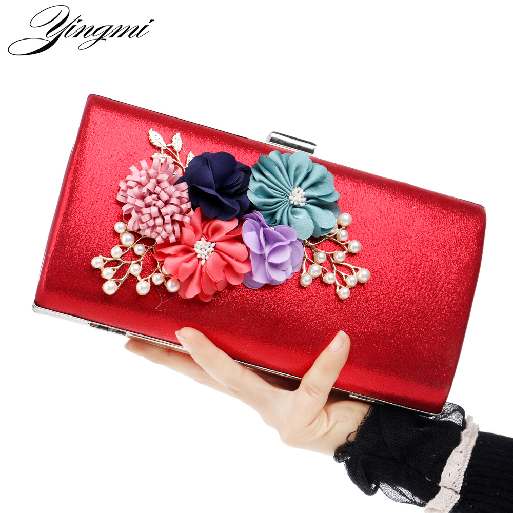 2017 women bag hot hand evening bags new the chain the Appliques pattern flowers wedding dinner