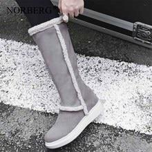 NORBERG new women fashion winter snow boots comfortable matte hair high wild school style black heelsЖенская обувь