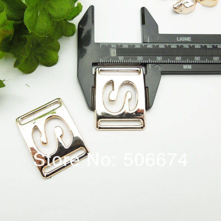 gold color no fade S style DIY accessories ribbon buckles 33*25mm, 20pcs rope ribbon slider for bowknot acessories for bag shoe