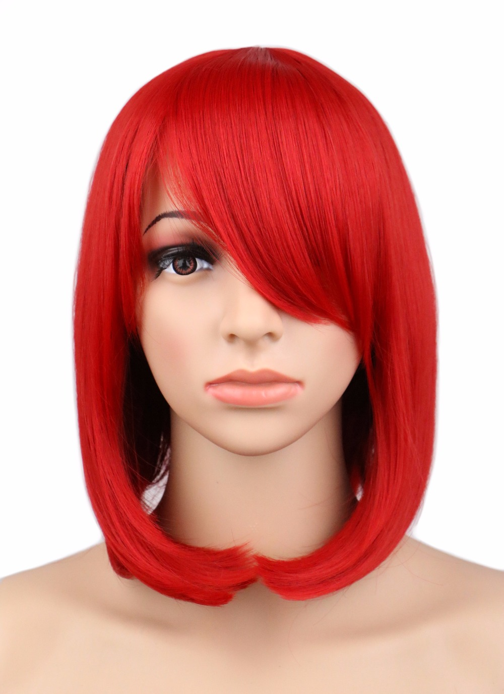 QQXCAIW Short Bob Straight Cosplay Wig Party Costume Red 40 Cm Synthetic Hair Wigs