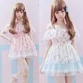 Summer Women Lolita dress Beige&Pink Spaghetti Chiffon Mini dress Korea Fashion Cute Lovely Suspender Kawaii dresses Girl Z290