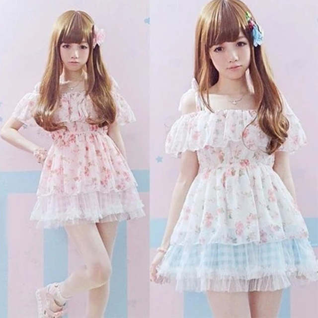 9d690fbde42 Summer Women Lolita dress Beige Pink Spaghetti Chiffon Mini dress Korea  Fashion Cute Lovely Suspender Kawaii dresses Girl Z290