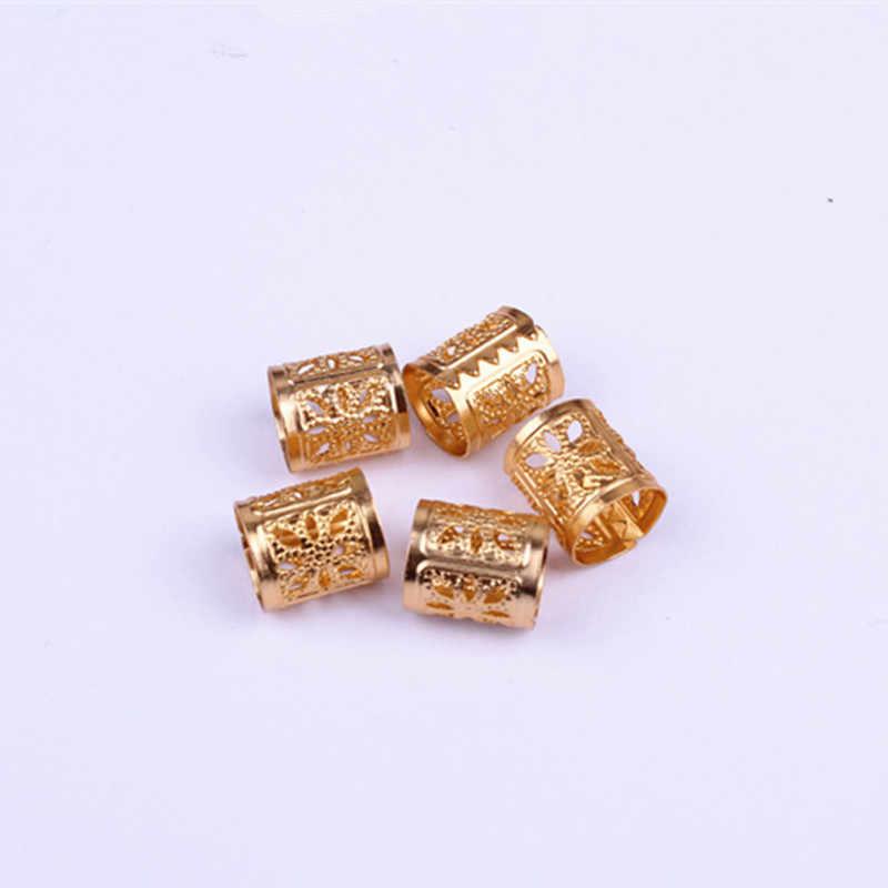 50 יח'\חבילה Dreadlock חרוזים לערבב כסף זהב מצופה שיער צמת Dreadlock מתכוונן קאף קליפ חור חרוז ערכת אבזר