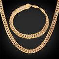 Hombres de Dos Tonos Cadena Cubana Pulsera Y Collar Set Joyería de Moda 55 CM 6 MM Joyería Plateada Oro Establece NH828