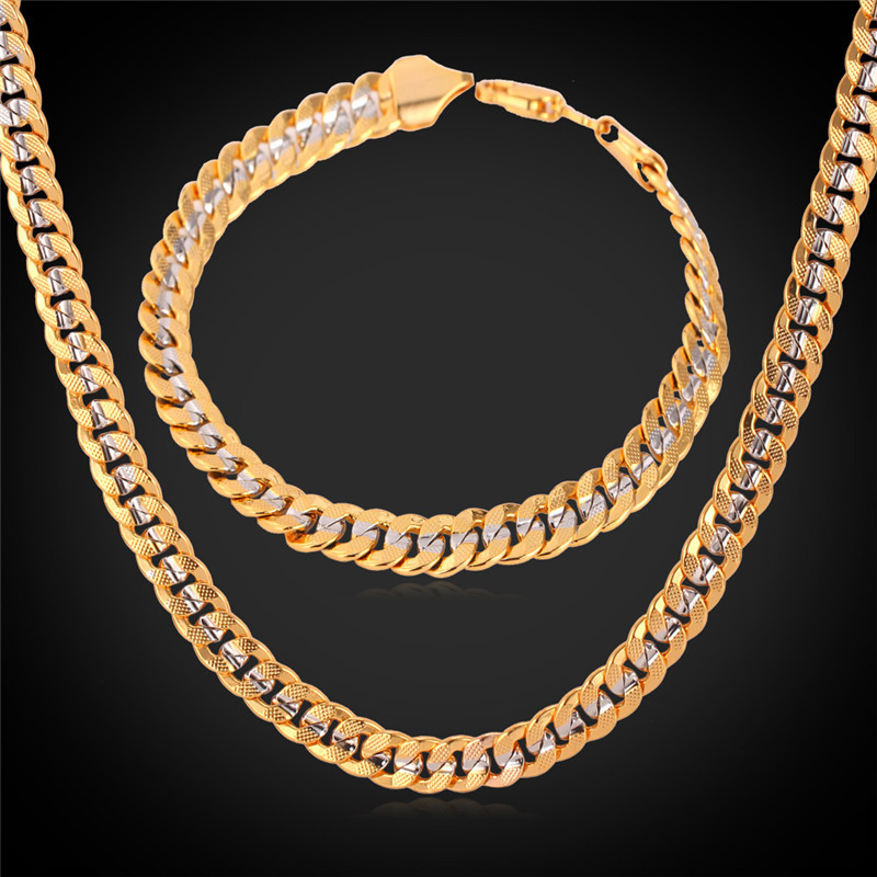 Men Two Tone Cuban Chain Bracelet And Necklace Set Jewelry Trendy