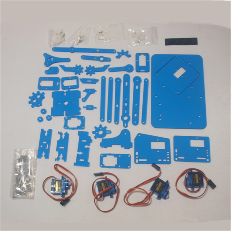 все цены на Funssor DIY meArm Mini Industrial Robotic Arm Deluxe Kit laser cut blue color acrylic plate with 9 g micro Servos