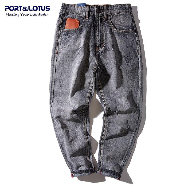 PORT LOTUS Men Fashion Cross pants Denim Scratched Jeans Brand Clothing Cotton Long Loose Pants Men