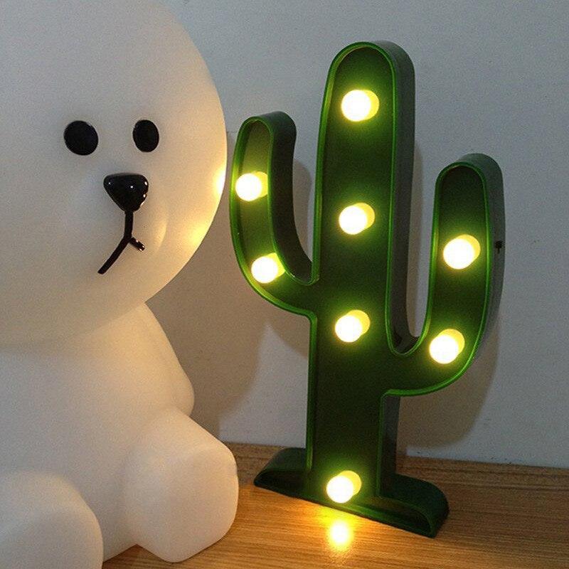 Adeeing 3D Söt Kaktus Ljuslampa LED Dekorativ Baby Nattlampa Dim - Nattlampor - Foto 2