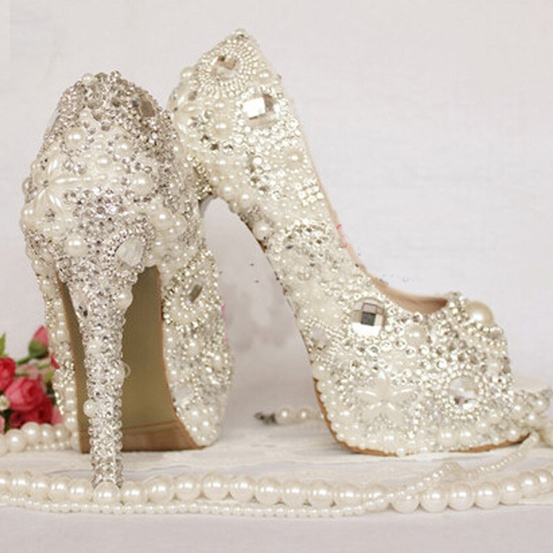 60a1e6ea1b8b Peep Toe Rhinestone Wedding Shoes Crystal Ivory Pearl Bride Shoes Custom  Made Women High Heel Platform Brithday Party Prom Shoes-in Women s Pumps  from Shoes ...