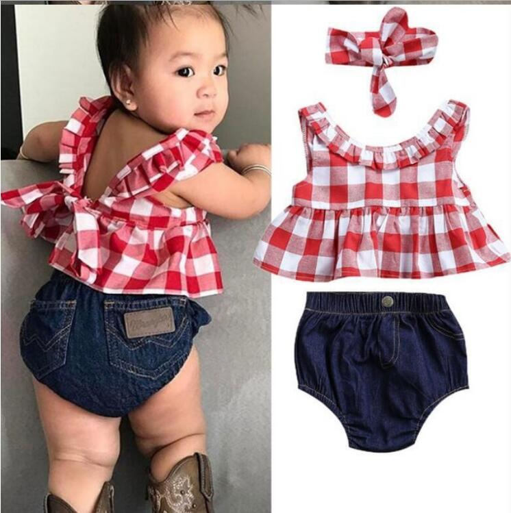 Summer baby girl clothing set Plaid Skirted T-shirt Tops+Denim Short Bloomers Headband baby girl clothes Newborn Outfits